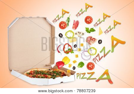 Tasty pizza in pizza box and ingredients on color background
