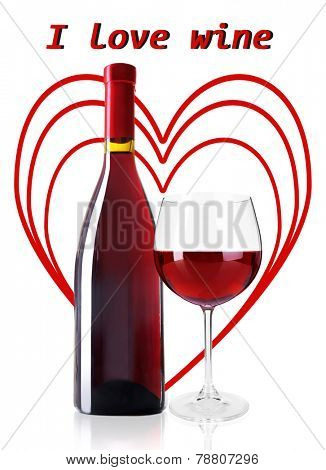 Bottle and glass of red wine with red hearts on background isolated on white