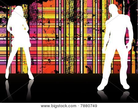 Sexy couple silhouettes in front of striped background. Editable Vector Illustration