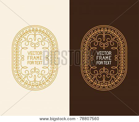 Vector Label Design Template In Outline Style