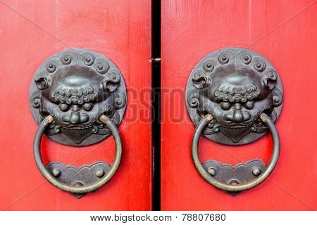 Traditional Chinese Doors With Brass Handles