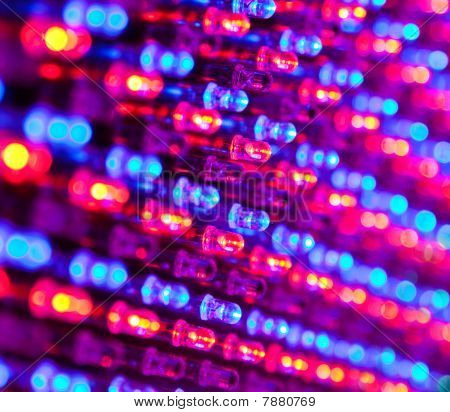 Rgb Led Diode Display Panel With Red And Blue Diodes Turned On