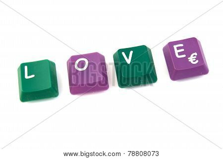 Love word formed with computer keys
