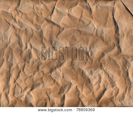 Old brown crumpled paper texture