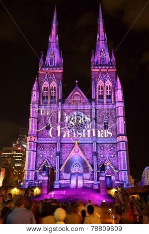 Christmas Lights Display St Marys Cathedral Sydney