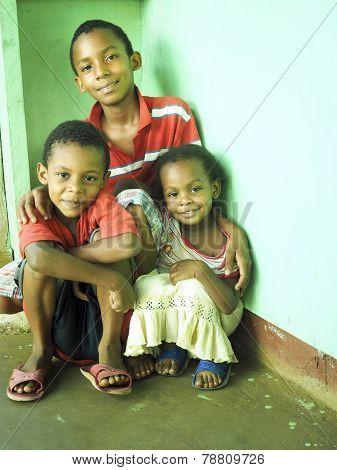 Editorial Nicaraguan Brothers Sister Children Corn Island Nicaragua