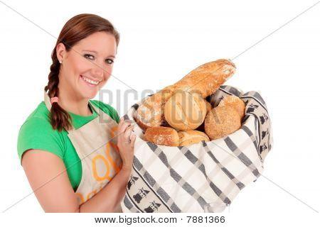 Woman Display Various Bread