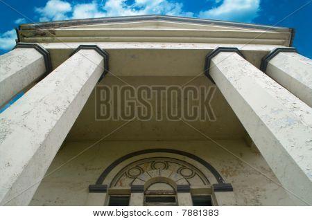 Pillars On Blue Sky Background
