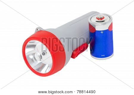 Flashlight With Battery Isolated On White.