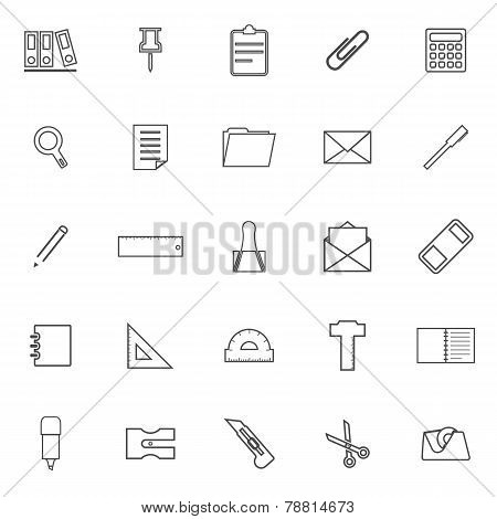 Stationery Line Icons On White Background
