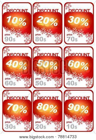 Set of winter price tags with percentage discount. Can be used as background for the price tag for goods or discount coupon