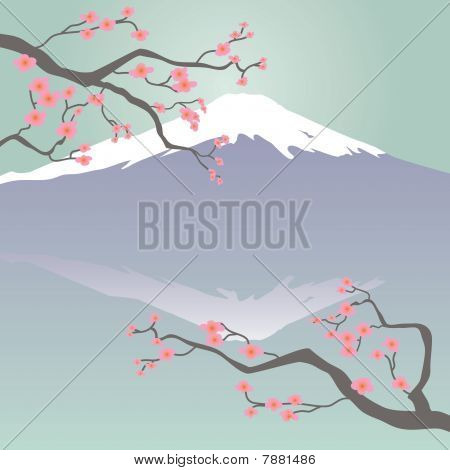 Mt Fuji and Cherry Bossoms