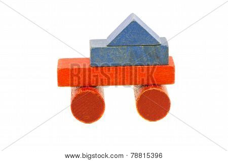 Colorful Used Truck Toy From Wooden Blocks