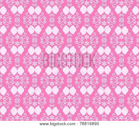 Pink Vintage Flower And Swirl Pattern In Classic Style