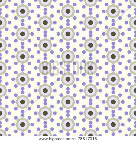 Violet Vintage Flower And Circle Pattern On Pastel Color