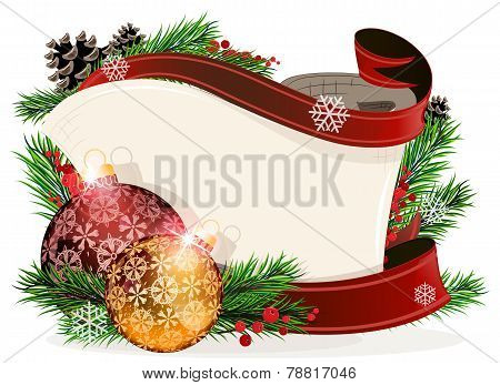 Paper Scroll With Red And Orange Ornaments