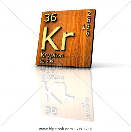 Krypton Form Periodic Table Of Elements - Wood Board
