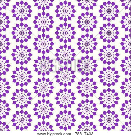 Dark Purple Vintage Modern Flower Pattern On Pastel Color