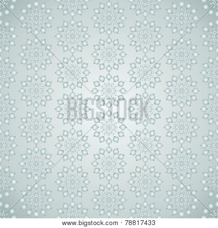Silver Vintage Modern Flower Pattern On Pastel Color