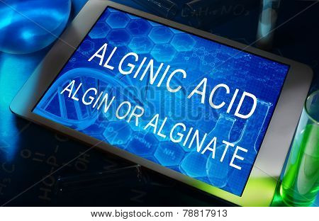 the words Alginic acid or algin