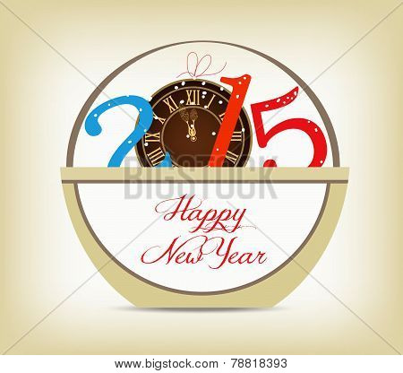Happy new year 2015 with clock gold