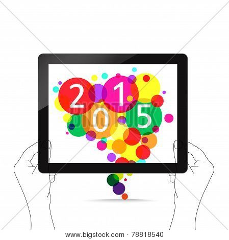 happy new year with tablet on hand
