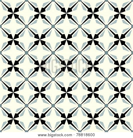 Black Abstract Rectangle And Arrow And Circle Shape Seamless Pattern