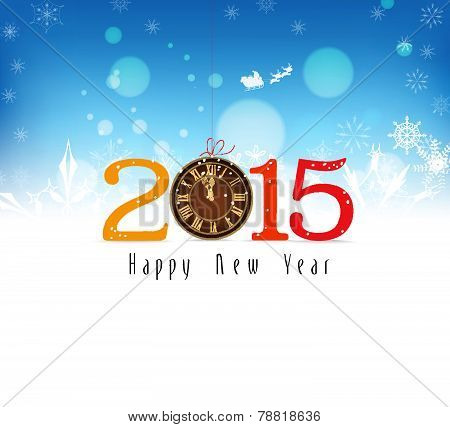 happy new year background with snowflakes and clock