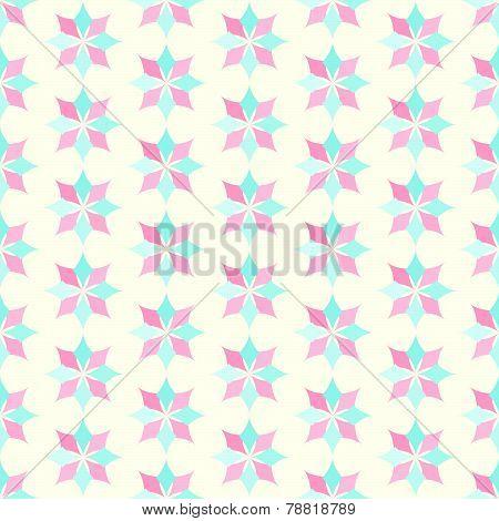 Light Pink And Blue Classic Rhomboid Flower Seamless Pattern