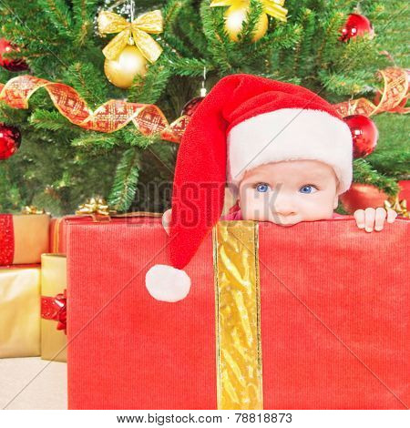 Little Child In Christmas Hat And Gift Box Against Decorated Fir Tree