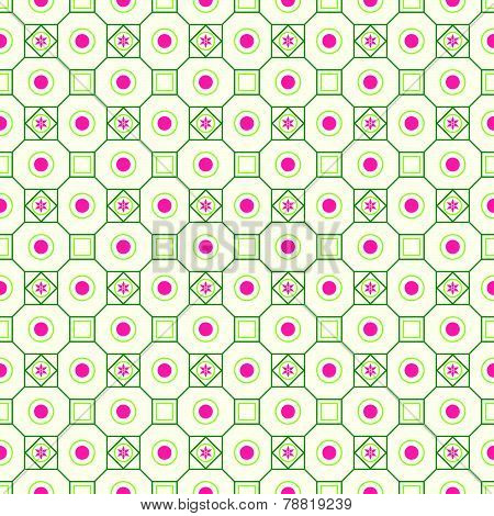 Green Retro Flower Circle And Square Seamless Pattern