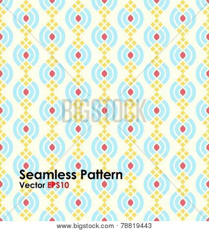 Blue Abstract Lotus Seamless Pattern On Pastel Background
