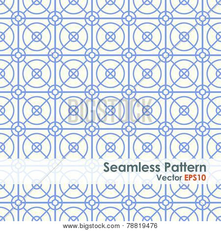 Blue Circle And Square And Hexagon Seamless Pattern