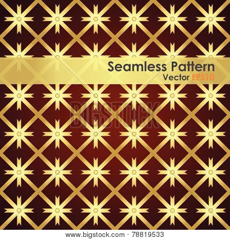 Gold Asterisk And Circle And Triangle Seamless Pattern
