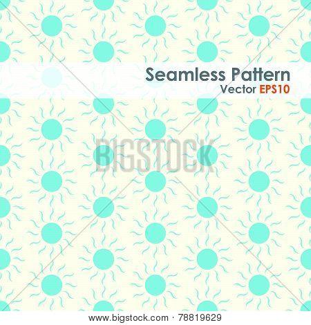 Blue Sun Seamless Pattern On Pastel Background