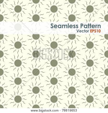 Brown Sun Seamless Pattern On Pastel Background