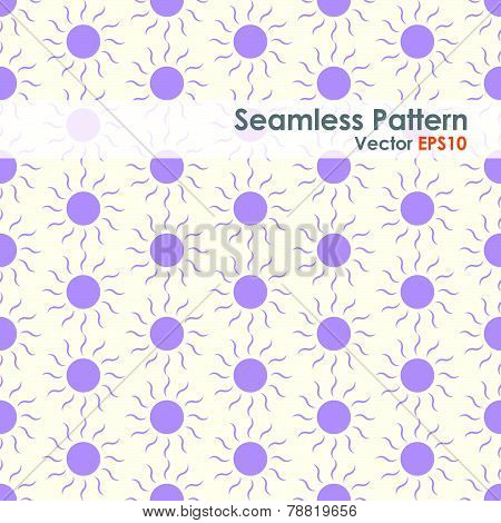 Purple Sun Seamless Pattern On Pastel Background