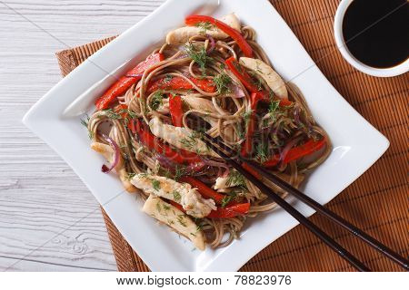 Soba Noodles With Chicken And Vegetables Top View Horizontal