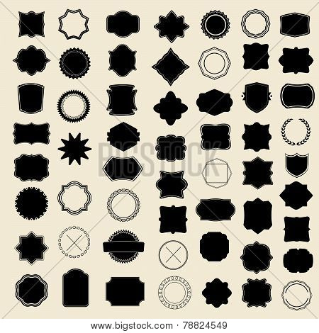 Large set of blank frame, badge and label. Vector  templates for your design