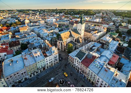 Top view of Lviv city, Ukraine