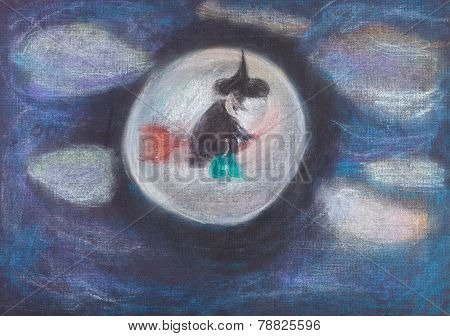 Witch Flying On Broom In Dark Sky