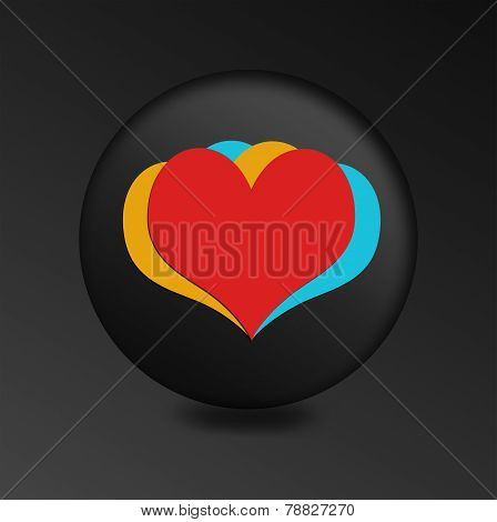 Heart sign icon button