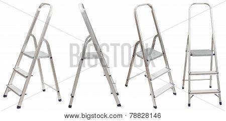 Set Of Short Folding Step Ladder Isolated
