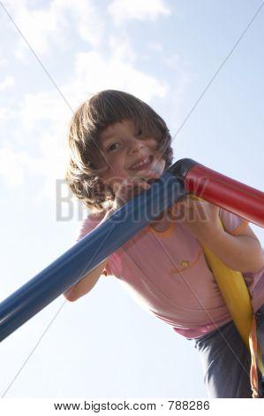 girl on climbing pole 01