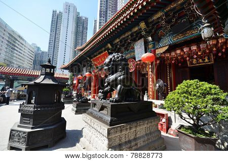 View Of Wong Tai Sin Temple In Hong Kong
