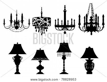 Chandelier and table Lamps Silhouettes