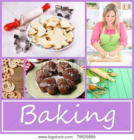 Home baking collage, Baking concept