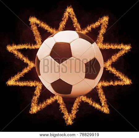 Football ball in firestar frame on black background, sports poster
