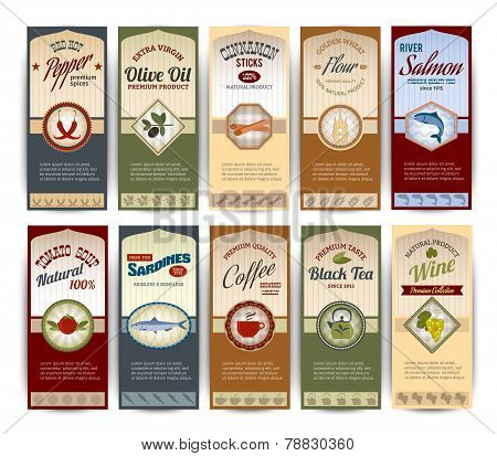 Food retro banners