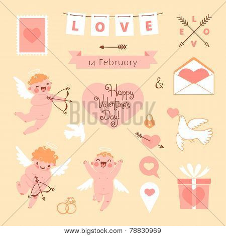 Valentine's Day set of elements for design.